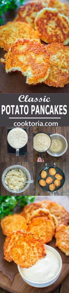 So simple, yet unbelievably tasty, these Classic Potato Pancakes are not to be missed! ❤ COOKTORIA.COM #Potatoes #Pancakes #BreakfastRecipe #DinnerIdeas #Tasty #Veggies #Vegetable #Recipes