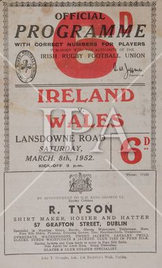 Irish Rugby Football Union, Ireland v Wales, Five Nations, Landsdowne Road, Dublin, Ireland, 8th March 1952, 8.3.1952. See more photos like this at www.irishphotoarchive.ie #vintage #oldphotos #blackandwhite #film #artistic #finearts #ireland #irishhistory #historyphoto #history Irish Rugby, University College Cork, Munster Rugby, Rugby Poster, 8th March, History Photos, King George