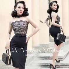 Le Palais Vintage Elegant Sexy Lace Stitching Black Sleeveless Slim Dress