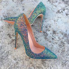 Pointed Heels, High Heel Pumps, Pump Shoes, Stiletto Heels, Glitter Heels, Platform Pumps, Stilettos, Green High Heels, Super High Heels