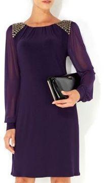 Purple embellished sleeve dress on shopstyle.co.uk