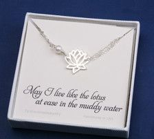 A lotus bracelet with custom message card:  1. a sterling silver or 24k gold vermail lotus 2. a one freshwater pearl 3. a sterling silver or 14k gold filled chain closed with a lobster clasp) 4. an optional fully customizable note card, laser printed on heavy weight cardstock, in elegant fonts and layout.  Packaged in my shops premium quality gift box (as shown)  Please leave your message in your checkout note (if card option is taken)