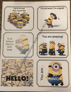 did you see our first minion lunch box notes post they were such a huge hit with my daughter and al ? Minion Jokes, Minions, School Lunches, School Days, School Stuff, Minion Lunch Box, Jokes For Kids, Kid Jokes, Notes Free