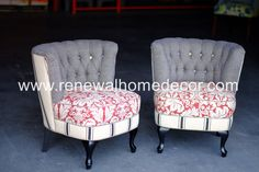 In Stock  Button tufted barrel chairs with red by ReNewalHomeDecor