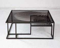 """""""Op Art"""" Glass and Metal Cocktail Table in the Manner of Victor Vasarely image 5"""