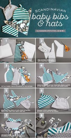 Diy baby bib and hat featuring fabrics by fabric com the perfect scandinavian flair for the fashionable baby simple and stylish Sewing Baby Clothes, Baby Clothes Patterns, Baby Patterns, Diy Clothes, Sewing Toys, Crochet Patterns, Baby Sewing Projects, Sewing Projects For Beginners, Sewing For Kids