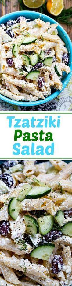 Tzatziki Pasta Salad in a creamy greek yogurt dressing with feta cheese.