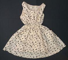 G Lungta London Bird Dress Size S/M Cream Black Mod Retro Has Pockets  #GLungtaLondon #AnyOccasion