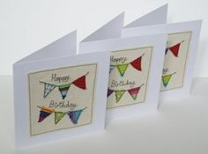 Birthday Card Birthday Bunting Card Machine by Nikelcards Fabric Postcards, Fabric Cards, Paper Cards, Cards Diy, Birthday Gift Cards, Handmade Birthday Cards, Greeting Cards Handmade, Birthday Message, Happy Birthday