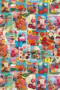 PiP Jardin de PiP | Wallpower | PiP Studio © such a pretty combo of orange pink pale green blue flowers