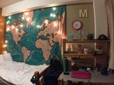 Map tapestry and twinkle lights // dorm room decor