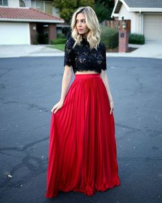 Maxi dress red top and blue bottom