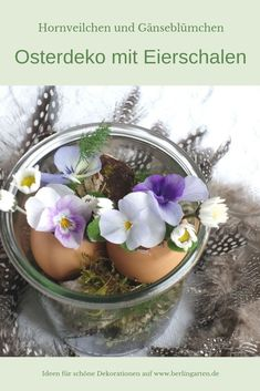 Easter decorations on the fly: eggshells as vases with horned violets - Leanna Toothaker Ikebana, Egg Shells, Acai Bowl, Daisy, Glass, Super, Small Vases, Decor, Enlarge Photos