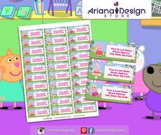 exclusive designs for invitations, party kits and labels by ArianaDesignStore Peppa Pig Birthday Invitations, Printable Birthday Banner, Printable Invitations, Party Printables, Pig Party, Party Kit, Zelda Birthday, School Labels, Stickers