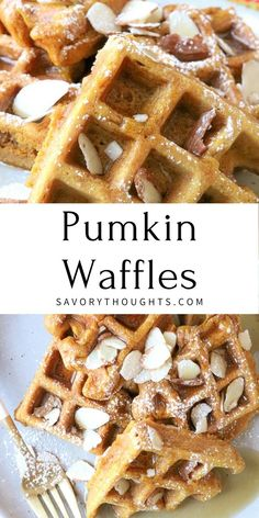 Crisp on the outside and fluffy on the inside, our Pumpkin Waffles recipe is a great way to use up any leftover pumpkin puree after Thanksgiving, or simply any time you want to enjoy an indulgent breakfast with a seasonal spin. #pumpkinwaffles #pumpkin #waffles @Msavorythoughts