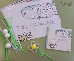 El viejo y la margarita.  Actividad: realizamos una flor con una bola de porexpan pintada de amarillo y limpiapipas blancos y verdes.