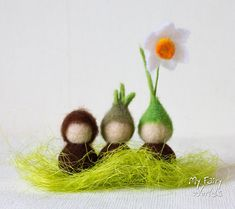 Root children. Set of three. Narcissus. Waldorf Inspired. Nature Table. Ready to Ship