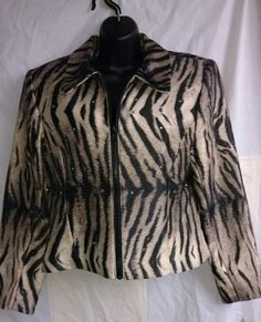 NWT LORI ZUNI ZEBRA PRINT JACKET SZ S CRYSTAL SEQUIN ACCENTS MSRP $229 BLACK TAN | Clothing, Shoes & Accessories, Women's Clothing, Coats & Jackets | eBay!
