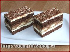 čokoládové řezy Czech Desserts, Yummy Treats, Sweet Treats, Czech Recipes, Cake Bars, Pastry Cake, Ice Cream Recipes, Desert Recipes, International Recipes