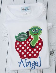 Personalized Apple with Worm Shirt by TadpolesandTutusBout on Etsy, $23.00