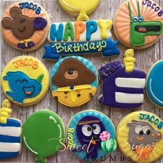 Hey Duggee Birthday sugar cookies from 2nd Birthday Boys, Birthday Themes For Boys, 4th Birthday Parties, Birthday Ideas, First Birthdays, Toddler Development, Sugar Cookies, Biscuits, Party Ideas