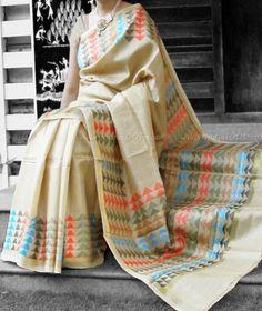 DesignerTussar Silk Saree with thread and zari weave – India1001.com