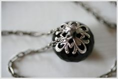 Today, instead of my usual fashion and accessory posts, I'm offering a giveaway in the form of a set of handmade black onyx rondelle antique silver filigree Onyx Necklace, Washer Necklace, Pendant Necklace, Black Jewel, Black Onyx, Dragon Jewelry, Pretty Black, Wearing Black, Glitters