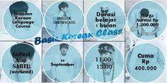 Membuka pendaftaran Basic Korean Class di tanggal 20 SEPTEMBER 2014 jadwal pukul 11.00-13.00 Pendaftaran silahkan kunjungi http://namsankoreancourse.com/basic-korean-class-for-korean-traveler/