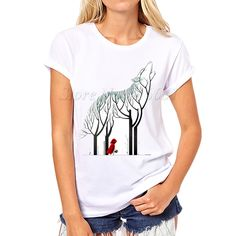 2017 New Women Fashion Cold Snow Cute White Design T shirt Novelty Red Riding Hood Tops Printed Short Sleeve Tees a144