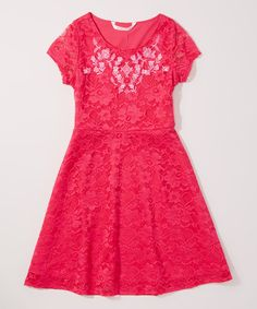 Look at this Pink Lace Skater Dress - Toddler & Girls on #zulily today!