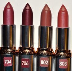 L'Oreal 704 Spicy Pink, 706 Robust Raisin, 802 Captivating Copper, 803 Naturally Nude (best for DA: 803 and maybe also 704 and Deep Autumn Makeup, Soft Summer Makeup, Winter Makeup, Fall Makeup, Lipstick Swatches, Lipstick Shades, Lipsticks, Deep Winter, Warm Autumn