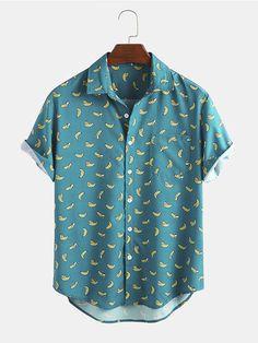 Cartoon Banana, Banana Print, Loose Shirts, Men's Shirts, Themed Outfits, Printed Shorts, Clothes For Sale, Cool Style, Shirt Designs