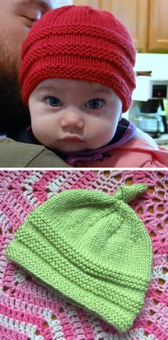 Knit Baby Beanie This knit pattern / tutorial is available for free. Beanie Knitting Patterns Free, Baby Booties Knitting Pattern, Baby Hat Patterns, Baby Hats Knitting, Knitting For Kids, Easy Knitting, Baby Knitting Patterns, Loom Knitting, Knitted Baby Beanies