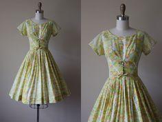 1950s Dress - Vintage 50s Dress - Citrus Polka Dots Bow Waist Full Skirt Cotton Sundress XS S - Stoplight Dress by jumblelaya on Etsy
