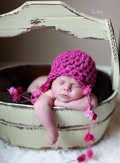 Newborn Baby Girl Pink Earflap PomPom Crochet Hat by EcoStreet, $29.00