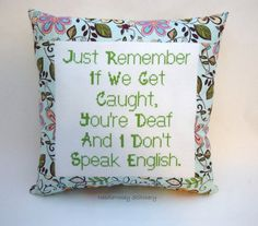 Funny Cross Stitch Pillow Blue And Green Floral by NeedleNosey