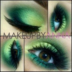 Funky Greens Mac gorgeous gold, swimming, bottle green and carbon. Mac minted eyeliner on the bottom waterline with Ben Nye green shadow over it. Covergirl LashBlast mascara with Dose of Colors lashes - McNamara Lahaye Garcia By Anna- Scary Makeup, Love Makeup, Makeup Art, Makeup Looks, Poison Ivy Makeup, How To Do Eyeliner, Makeup For Green Eyes, Makeup Eyes, Costume Makeup