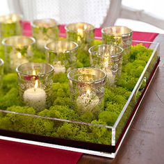 Votive Candle Display..Fill a clear shallow tray with moss and small votivecups arranged in rows. Wrap a ribbon around the outside of the tray and place on a table runner for an easy centerpiece.