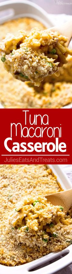 Tuna Macaroni Casserole Recipe ~ Traditional, Comforting Casserole From Grandma's Recipe Box! The Kids Will Love This Dressed Up Mac & Cheese Casserole Recipe! via @julieseats
