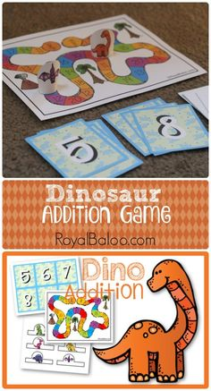 Free Dinosaur Addition Game Printable for sums 10-20