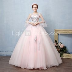 Formal Evening Dress Ball Gown Jewel Floor-length Lace Tulle with Beading Lace 2017 - $89.99