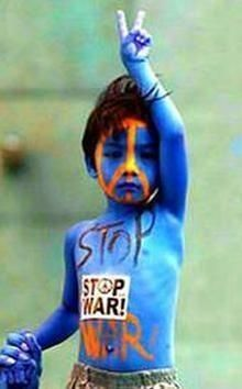 .--Perhaps this little boy has seen his fair share of war? Change is not age specific :)