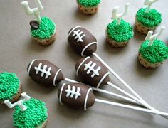 Football Cake Pops @Jayme Spencer we should make these for this weekend ;)
