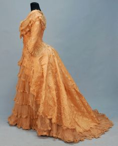 FRENCH SILK EVENING GOWN, 1888.