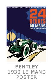 This Bentley poster celebrates the mighty Bentley Speed sixes of the late 1920's when the 'Bentley Boys' dominated endurance motor sport. In the Le Mans 24 hour race in 1930 they took first and second place, the winning car being driven by millionaire Captain Woolf Barnato with co-driver, the 'born adventurer' Glen Kidston, but sadly this was to be the company's last year of racing. Financial problems prevented Bentley from competing in 1931 and after Rolls Royce purchased the remains of the…