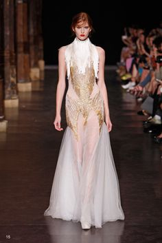 #white #gold #gown