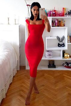 Honey Couture - Red Thick Strap Midi Bandage Dress