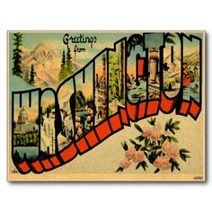 Washington WA Large Letter Vintage Postcard