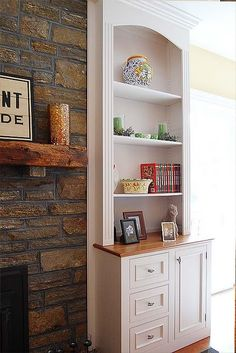 Built in book shelves. I want to add something like this to the top of the boys dresser.  Would be pretty easy and then they could display things. Like a hutch