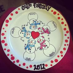 Hand Painted Christmas Plate by doodlebops26 on Etsy, $25.00